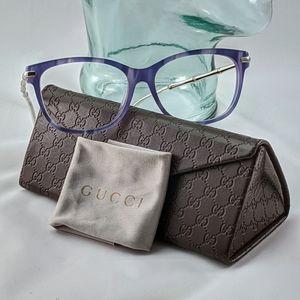 Auth. Gucci blue-ish purple bamboo glasses